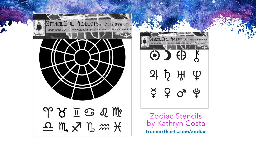 Zodiac Chart and Symbols Stencils by Kathryn Costa for StencilGirl Products