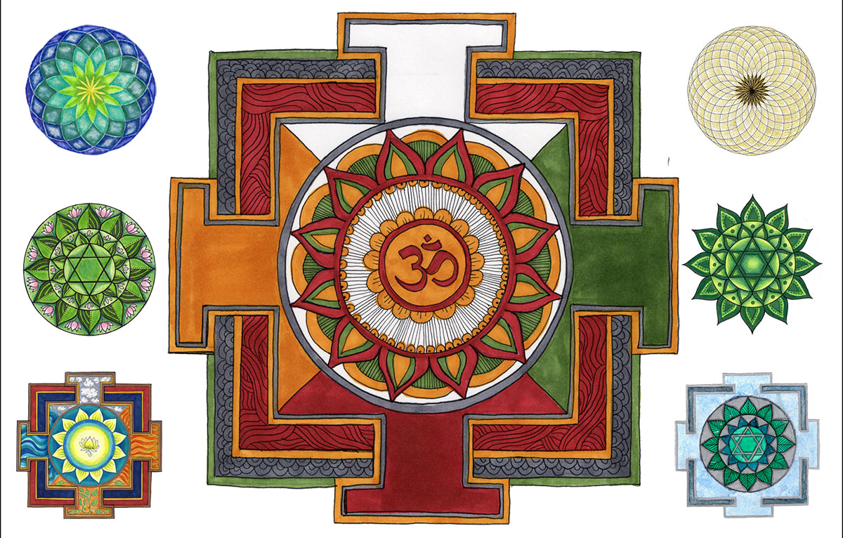 Examples of the Mandala Art you'll make at Dharmakaya
